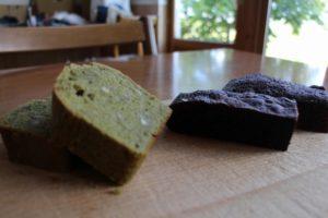 ブラウニー、緑茶のケーキ