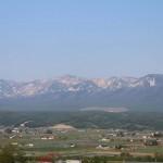 山の残雪風景